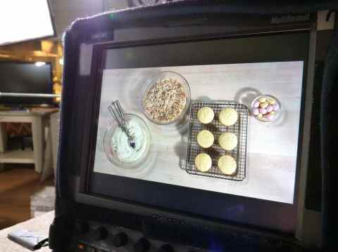 Cupcake shot on monitor