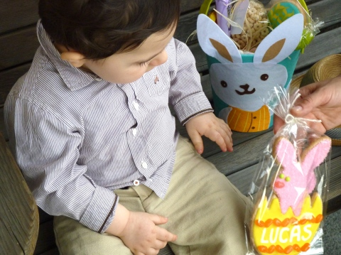 Lucas checks out bunny cookie