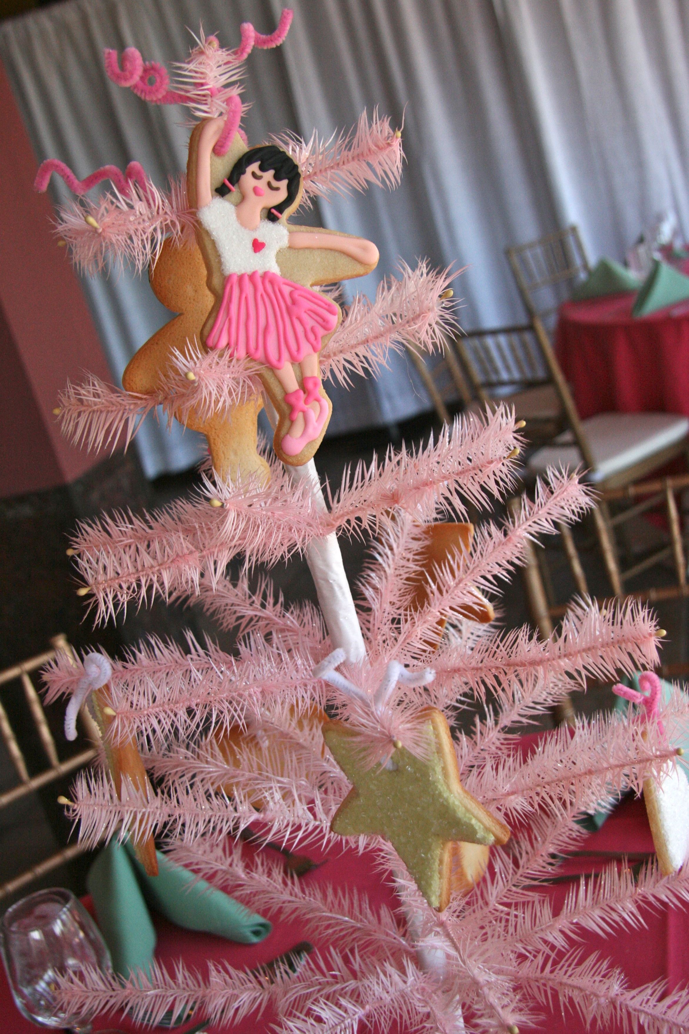 Pink Feather Tree with Ballerina in 3rd Position
