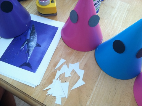 Shark Party Hats with Eyes
