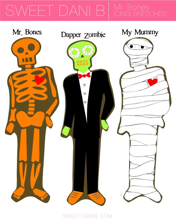 Mr Bones icing sketches