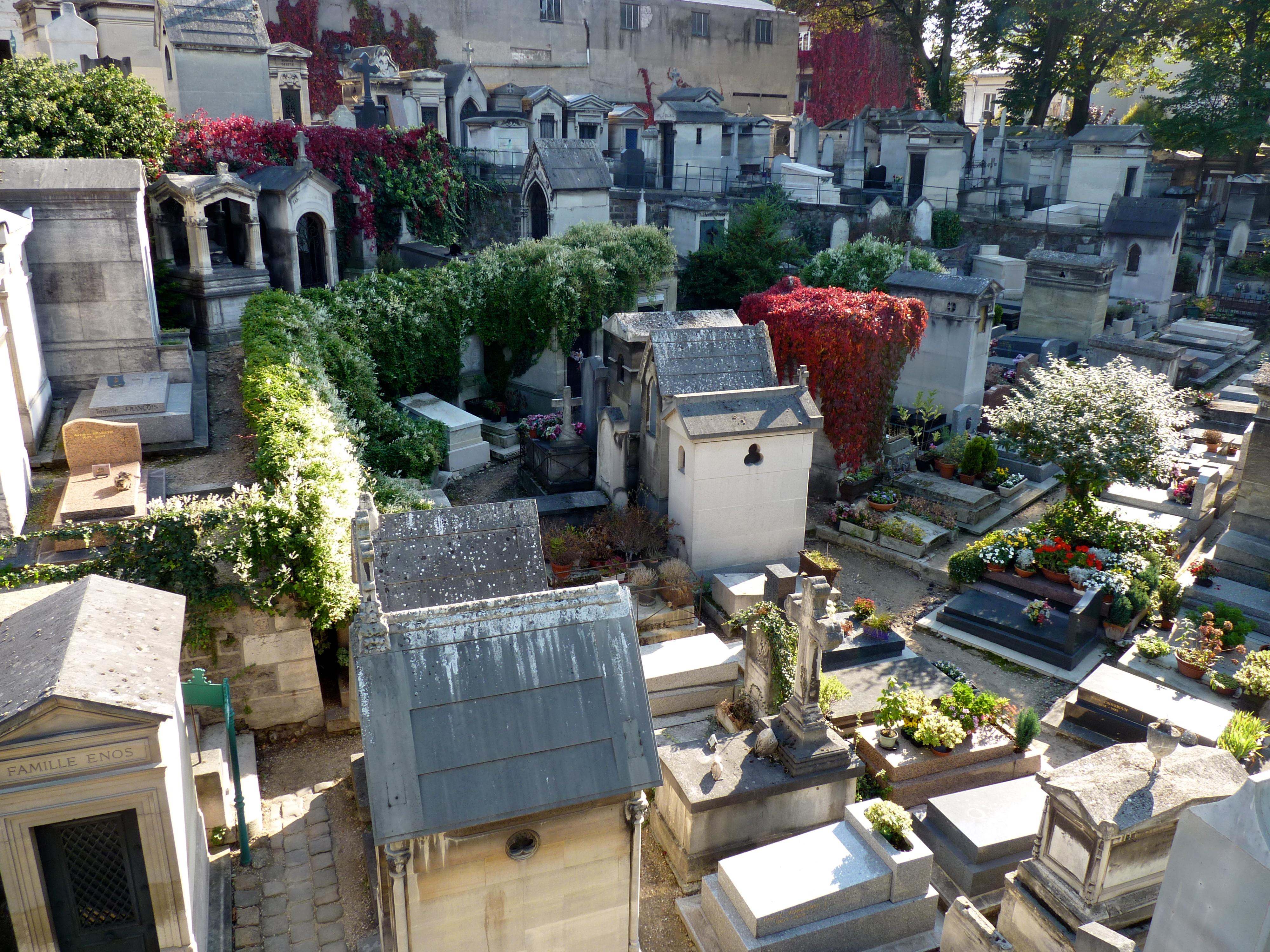 Looking down into Cimetière Montmartre