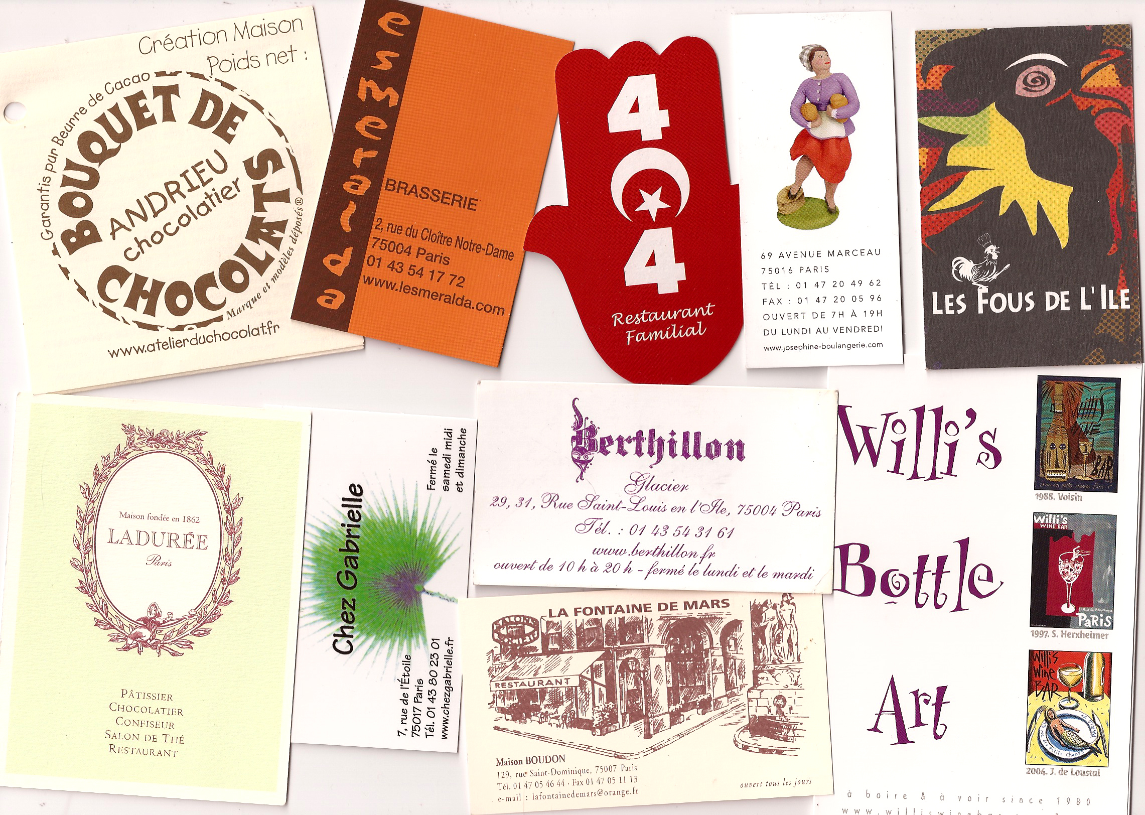 Business cards from some of our favorite places in Paris